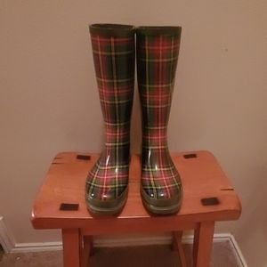 On Your Feet Brand Plaid Rain Boots Size 8 M